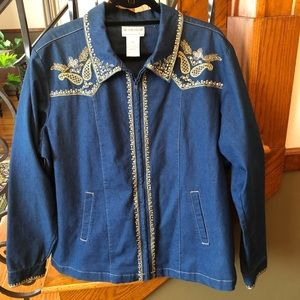 Victor Costa Denim Zip Western Bling Jacket XL